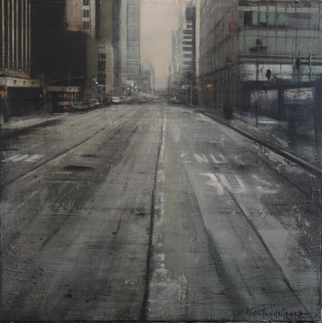 Calle gris.60x60 cms.Oleotabla