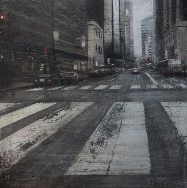 Crosswalk.60x60 cms.Oleotabla