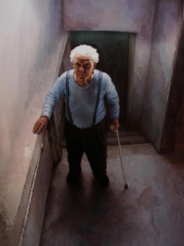 cavagnaro al final de la escalera