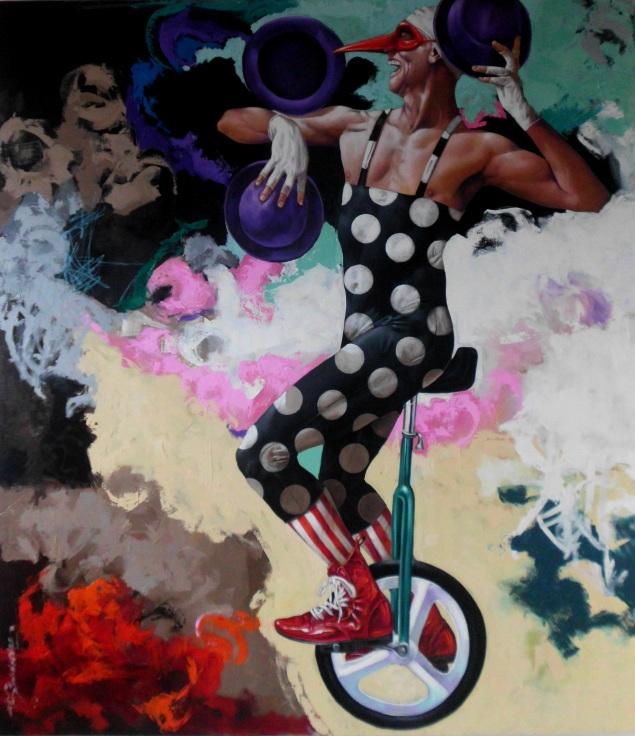 """Autor:Alex Stevenson Diaz Titulo:""""MAKARIUS"""" Técnica :oleo-lienzo Dimensión :180x160 cms"""