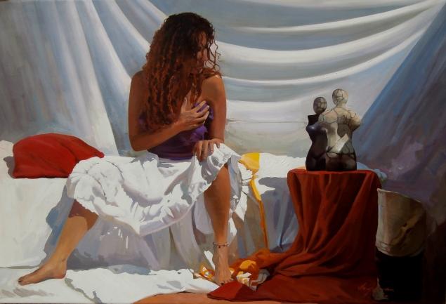 Autor: Jose Higuera Titulo: La mujer del pelo rojo. 81x116 cm óleo sobre sobre lienzo