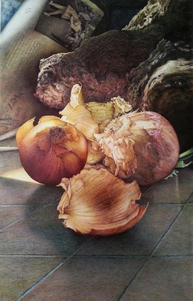 AUTOR: Virginia Rodríguez Cañete TITULO DEL CUADRO:Cebollas y beso TÉCNICA: Bolígrafo sobre papel TAMAÑO: 42 x 66 cms