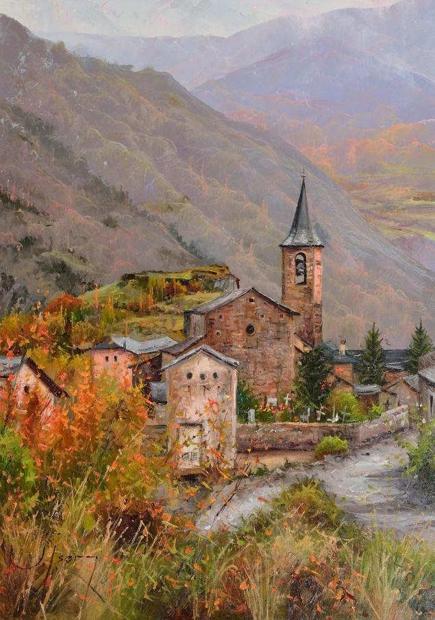 Nos acompaña en el Pirineo el sol de tarde. 46 x 33 cm