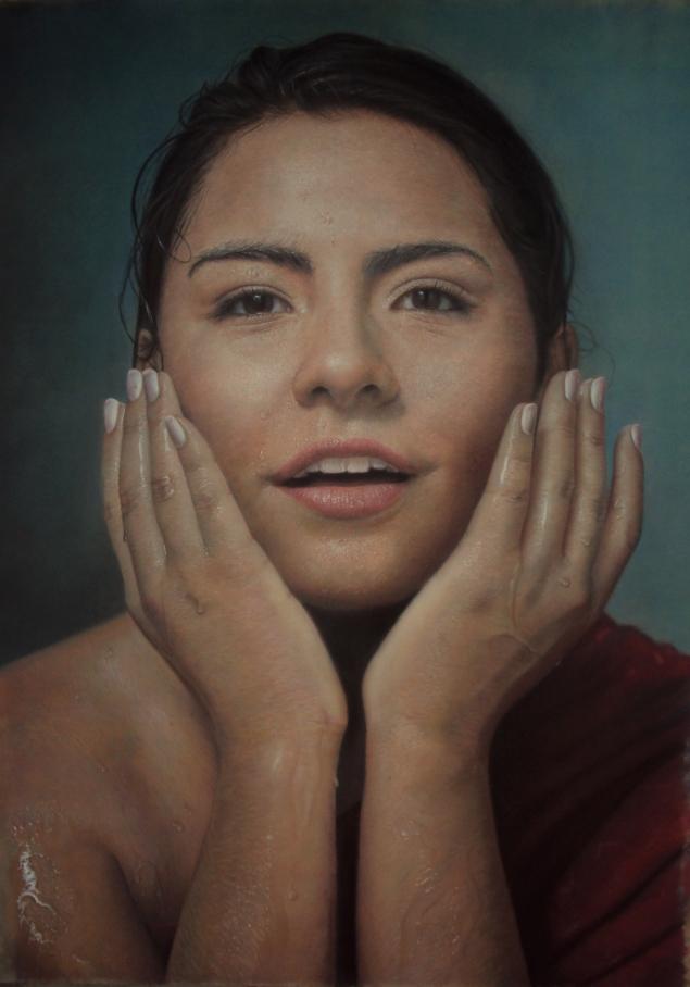 """Autor: Pablo Roque Almanza Título            : """"Sed"""" Dimensiones: 130 x 100 cms. Técnica         : Pastel sobre tabla"""