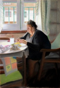 Autor: Oscar Jiménez Titulo: La abuela Irene Dimensiones: 110x75cm Técnica: Pastel sobre papel encolado a tabla
