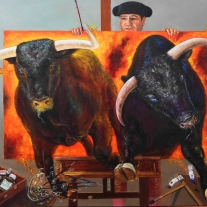 """Autor: Emilio Romero Rodríguez. Título: """"La peligrosa vida de un artista"""" Técnica: Acrílico y óleo sobre lienzo. Dimensiones: 80x100 cm. Año 2014"""