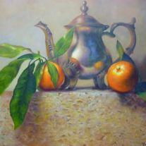 Autor: Edgar Ameneyro Jimenez Titulo: bodegón con mandarinas Tecnica: oleo sobre lienzo, 65x80