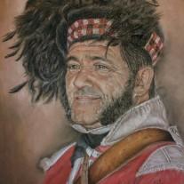 Autor: Vito Gallego Blázquez Titulo: La batalla de la Albuera(soldado escoces) Medidas: 50 x 65 cms Técnica : Pastel seco