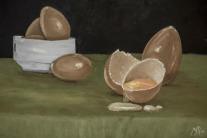 Autor. Mar Sanchez Titulo. Bodegon de Huevos , Oleo al agua sobre Dm3d 30x40