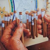 """Autor: Alba Narváez Pérez. Título: """"Bolillos"""" Tamaño: 54 x 65 cm. Técnica: Óleo sobre Lienzo"""