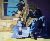 Autor: José Luis García Pascual Título: El mendigo Dimendiones: 73 x 60 Técnica: óleo sobre lienzo