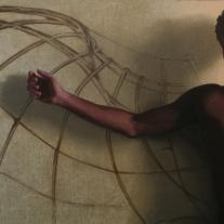 """Autor: Víctor Manuel Manjón-Cabeza Ortíz Título de la obra: """"El sueño de Leonardo"""" Dimensiones y técnica: 146x73 cm. Técnica mixta sobre lienzo"""
