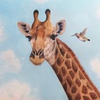 """Autor: Gabriela del olmo Obra: """"Pensamientos"""" (Jirafa); Dimensiones: 50x60cm; Soporte: Lámina canson; Técnica: Pinturas pastel."""
