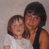 Autor: Angel Astorga Cotoras Titulo: Madre e hija Dimensiones: 80x80 cm Tecnica: Oleo sobre tela