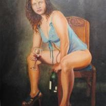 Autor: Jorge Alberto Marín Uribe Título: Liliana Bohemia Técnica: Oleo sobre lienzo 90x60 cm Autor :Jorge A. Marín