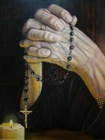 Autor: Felipe Erena Damas, titulo: ruega por nosotros, dimensiones: 50 figura, 116x89,oleo sobre lienzo