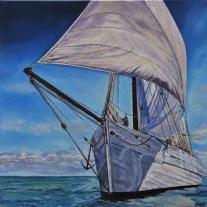 Autor: Fuensanta R.Urien Titulo: « Barco » Tecnica: Oleo sobre lienzo Dimensiones: 60x60cm