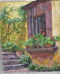 """Autor: Pilar Ramón Título es """"Ventana al patio"""", en óleo sobre lienzo y sus medidas, 23'5 de ancho x 28 cm de alto."""