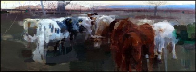 José Luis Ceña Ruiz 'Pedro's Cows III' oil on canvas 30x80cm £1050