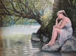 """Autor: Lucía Higueras Mena Título: """"130812 Junto al lago"""" Tamaño: 73 x 54 cm. Técnica: Óleo sobre lienzo"""