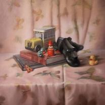 Autor: Rosan, Titulo: Andando cuentos, 60X50 pastel sobre papel sennelier