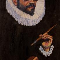Autor: Juan Reig Título: Autorretrato a lo Greco Dimensiones: 95x55 cm Técnica: óleo sobre lienzo