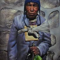 Autor: Rosmery Mamani Ventura Titulo : AYMARA dimensión: 100X80 cm técnica: Oleo/tabla