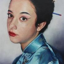 "Autor: José María Peña Gallardo ""Blue Butterfly"". Óleo/Lienzo. 73 x 54 cm."