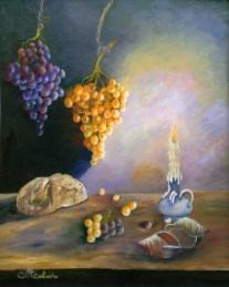 Autor: May Carmen Calviño, Titulo: Reflejos a la luz de una vela-oleo-55X46 cms-2006
