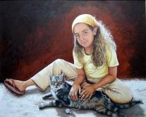 """Autor: José Avelino Álvarez Hernández Título: """"Clara y Tigre"""" Dimensiones: 100 x 81 cm. Técnica: Óleo sobre lienzo"""