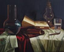AUTOR: Julio Cobo TÍTULO : Bodegón DIMENSIONES 73 x 60 cm. TÉCNICA : Óleo sobre lienzo