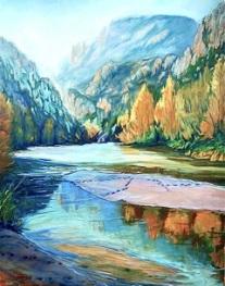 Autor: Jaume Campmany Titulo: Rio Segre entrada natural al Pirineo Cuadro pintado al oleo sobre tela de lino 73x84 cm