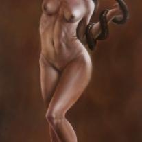 Autor: Gerardo Monroy Vergara Titulo: El secreto de Eva ,Oleo sobre tela 100 cm x 80 cm