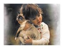 Autor: Juan Lobatón Scott Título: Gato con niña Dimensiones: 65 x 45 cm. Técnica: Acuarela