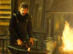 """Autor : José Maria Diaz Castan Tema : """""""""""" Alfonso el herrero, de Casa Gregorio """""""""""" Óleo sobre lino egipcio 180X150"""