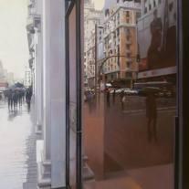 Jose Higuera Lluvia en Gran Vía. 80x60 óleo sobre lienzo