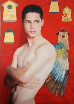 Autor: Víctor Manuel Manjón-Cabeza Ortízr: Papageno y los pájaros Técnica mixta sobre tabla 100x73 cm.