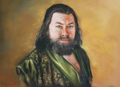 """Autor: Antonia Contra. """" Retrato de Robert Baratheon"""" Técnica: pastel sobre lámina. 50 x 65."""