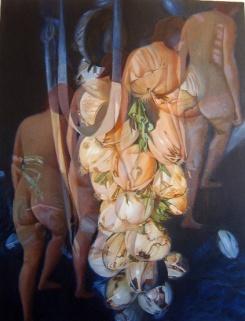 """Autora: Ana Urgoiti Guisasola Título: """"Desnudo subiendo la escalera"""" Dimensiones y técnica: 100 x 81 cm. Oleo sobre lienzo"""