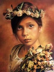Autor : Raul Pazos  Titulo : La Florista  Dimensiones : 80 cm x 60 cm  Técnica : Pastel sobre madera.